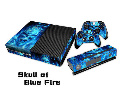 Blue Skull Fire Decal Skin Sticker For Microsoft Xbox one Console Controller