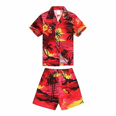 Boy Young Adult Aloha Shirt Beach Hawaiian Cruise Luau Cotton Yellow Sunset
