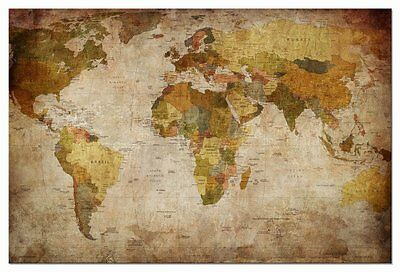 Antique Vintage Wall Canvas Prints World Map Home Decor Wall Art Poster Framed