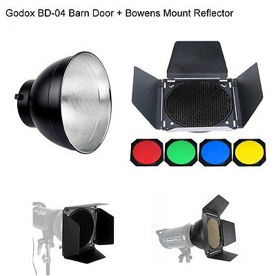 Godox BD-04 Barn door Honeycomb Grid & Filter + Standard Reflector Bowens AU