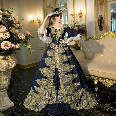 New 18th Womens Medieval Renaissance Queen Dresses Ball Gown Antoinette Costume
