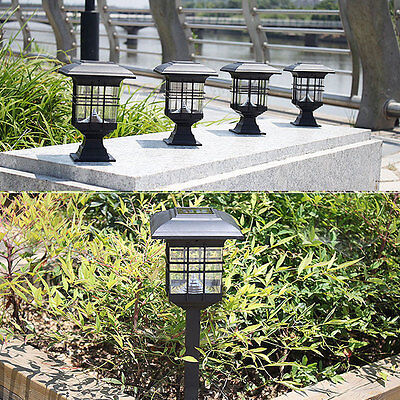 Solar Powered LED Light Path Way Wall Landscape Mount Garden Fence Lamp Outdoor