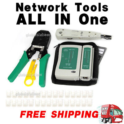 LAN NETWORK TOOL KIT CABLE TESTER CRIMP Stripper POUCH DOWN RJ45 RJ11 CAT5 CAT6