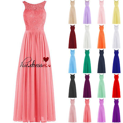 New STOCK Lace Formal Long Wedding Bridesmaid Dress Evening Prom Party Gown 6-20