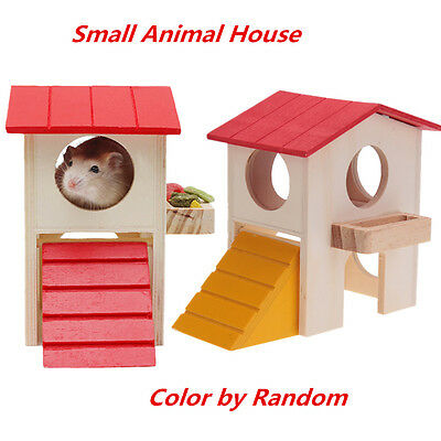 Pet Rat Hamster Mouse Wooden Funny Climbing Ladder House Cage Nest Exercise Toy
