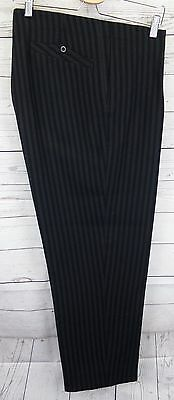 Vtg 40s High Waist Striped Wool Button Fly Trousers W34 L27 CO63