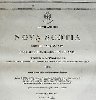 1857 Antique Nautical Sea Sailing Chart Map NS SE Coast Canada Liscomb Green