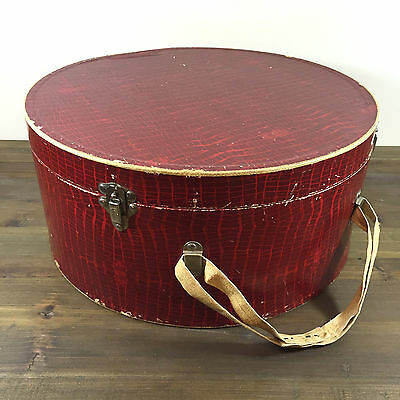 Vintage Round Travel Train Case Red Faux Crocodile Heavy Cardboard