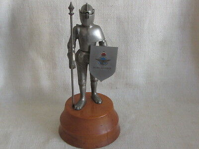 Vintage Swiss Metal Royal Air-Force Knight In Armour Table Lighter