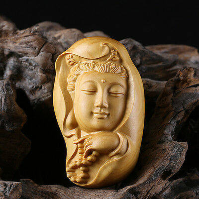 JP077 -- 6*3.5*3.5 CM Carved Boxwood carving/ Netsuke : Fairy Kwan-Yin Mask
