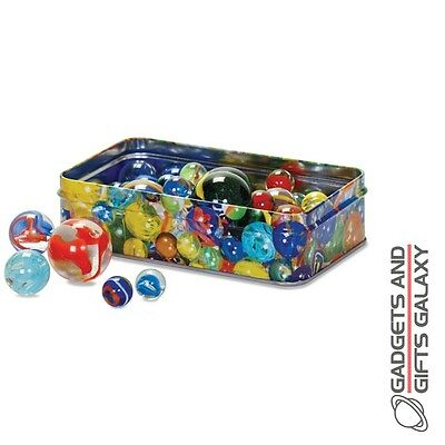 60 x MARBLES IN A TIN GIFT BOX TRADITIONAL RETRO CLASSIC toy game gift childs