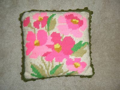 Vtg 70's Hand Stitched Needlepoint Bright Pink Flowers Floral Pillow Ball Trim