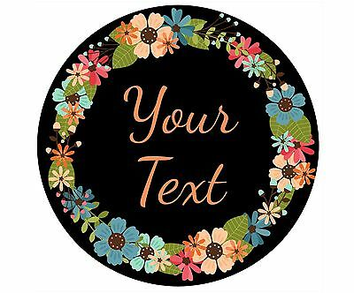 Mouse Pad Custom Personalized Thick Round Mousepad-Floral Wreath 1-Any Text