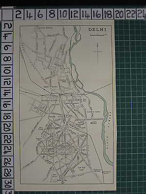1959 India/pakistan Tourist Map ~ Delhi City Plan Stations Pahar Ganj