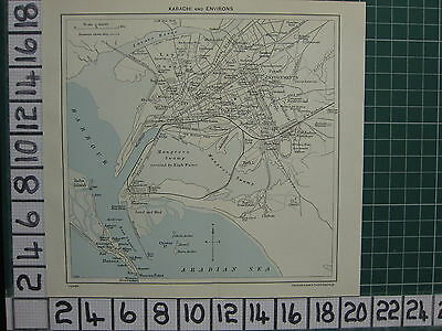 1959 India/pakistan Tourist Map ~ Karachi Environs City Bagdadee Manora Fort