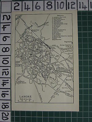1959 India/pakistan Tourist Map ~ Lahore City Plan Railway Station School Fort