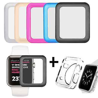Apple Watch Full Cover Tempered Glass Screen Protector Film + Soft Case 38/42mm