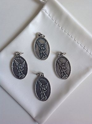 """Lot of 4 Catholic Gift 1"""" Silver Plate St Michael Guardian Angel Medal Pendant"""