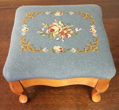 NEEDLEPOINT WOOD FOOT STOOL Ottoman Handmade Antique Vintage Shabby Chic 12x12x8