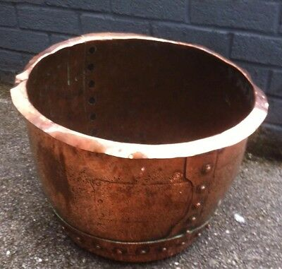 Antique Copper Planter With Rivets, Tub Trough