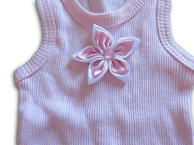 HANDMADE Girls Pink Singlet with Pink Satin Flower ~ NEW ~ Size 000