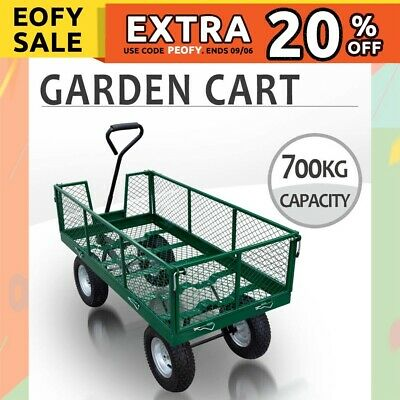 Garden Cart Mesh 700kg Cap. Removable Sidewall, Dump Trailer Garden Wheel Barrow