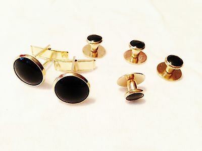 New Black Gold tuxedo cufflinks studs tux cuff links 2 cuff links 4 studs