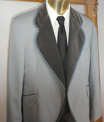 Boys 10 Vintage Grey Windsor Tux Coat Velvet Lapels Wool Gray Jacket