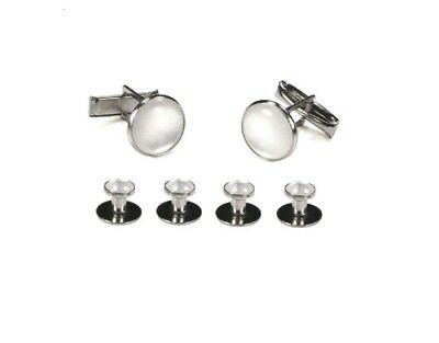 NEW Silver White Pearl Tuxedo Pique Shirt Studs Tie Tails Formal Tux Cuff Links