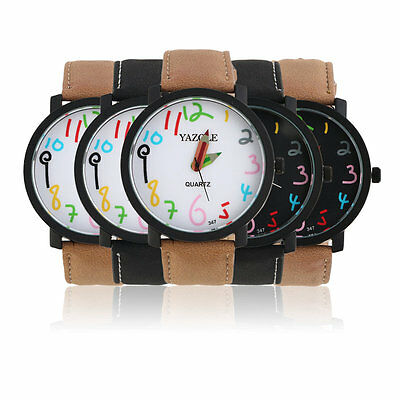 Children Colorful Numeral Pointer Watch Casual School Analog Cartoon Watch AU