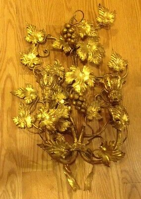 "Italian Gold Gilt 21"" Metal WALL Candle SCONCE Italy Grape Vine Candle Holder"