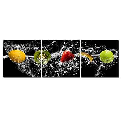 Picture Painting Canvas Prints Wall Art Home Decor Fruits Cafe Kitchen 3PC Black