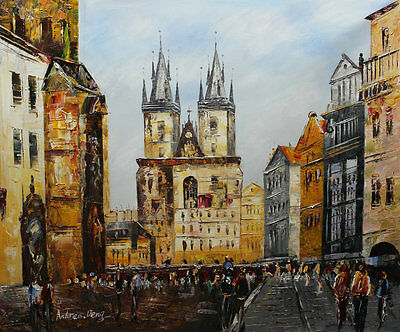 Modern knife abstract Prague oil painting on canvas Living Room Wall deco prg2