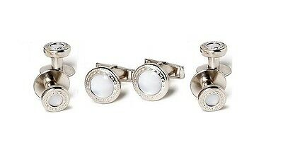 NEW Mens Silver Pearl White Embossed Cufflinks Shirt Studs Western Bullet Tux