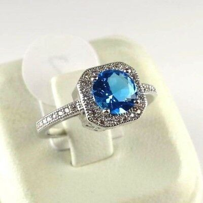 R#8739 simulated Sea Blue & White Topaz Gemstone ladies silver ring size 8