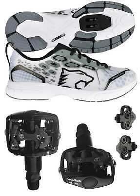 Venzo Mountain Bike Bicycle Shimano SPD Shoes + Wellgo WPD-823 Clipless Pedals