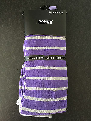 BNWT Bonds Brand Girls Age 11-14 Years Purple/Grey Stripe Footed Style Tights