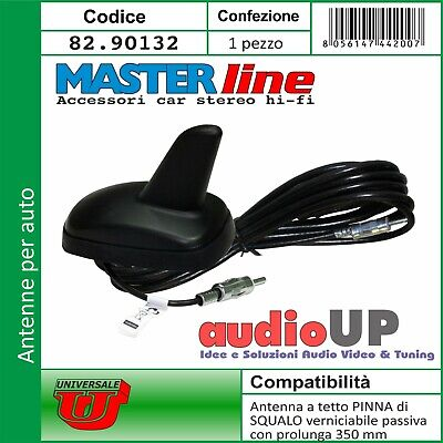 Antenna universale a tetto passiva AM-FM pinna squalo verniciabile conness. DIN