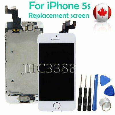 Full LCD Touch Screen + Camera + Button Replacement Assembly for iPhone 5S White