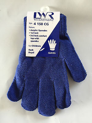 BNWT Boys or Girls LWR Brand Royal Blue Knit Primary School Uniform Warm Gloves