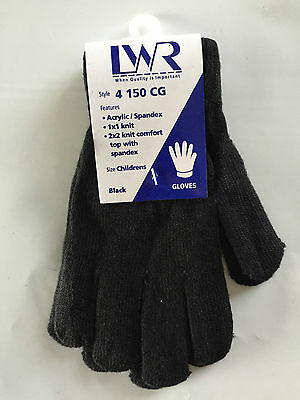 BNWT Boys or Girls LWR Brand Soft Black Knit Primary School Uniform Warm Gloves