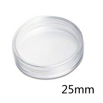 10 x 25mm Money Clear Round Cases Coin Storage Capsules Holder Plastic Coins