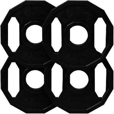 BodyRip 4 x 1.25Kg Olympic Polygonal Coated Hex Weight Disc Plates Gym Fitness