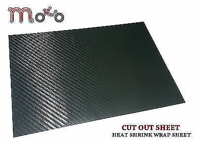 A4 Cutout Carbon Black Sticky Back Heat Shrink  Motorcycle Bike Wrapping Sheet