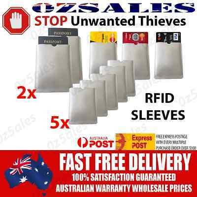 2x Passport & 5x ID RFID Blocking Credit Card Sleeve Shield Holder Protector