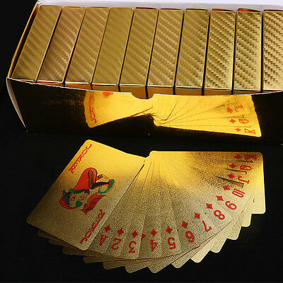 High Grade 24K Gold Foil Plated Waterproof Game Poker Grid Pattern Playing Cards