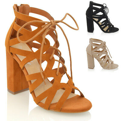 New Womens Lace Up Cut Out Block Heel Ladies Peep Toe Tie Party Sandals Shoes