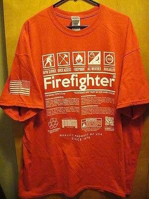 FIREFIGHTER ~ Large ~ Contents Label T Shirt by American Marauder