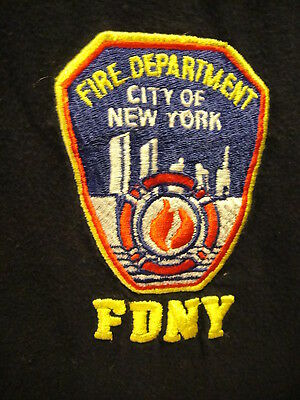 Fire Dept City of New York OFFICIAL Emroidered T Shirt Large Navy Blue