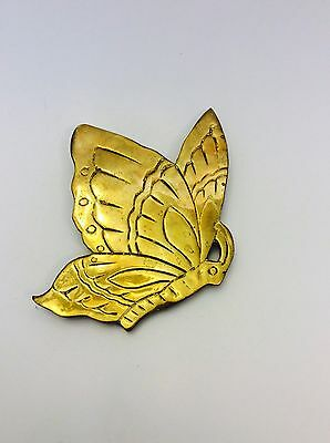 Vintage Brass Butterfly Footed Trivet, Metal Gold Etched Butterfly with Feet Tab